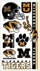 Missouri Tigers Temporary Tattoos Set (Set of 6 Sheets) by NCAA. $2.99. Officially licensed temporary tattoos. Each tattoo sheet comes with a collection of ten different temporary tattoos. Tattoos are applied with a wet cloth and easily removed with clear tape. Made in USA. Product Dimensions: Weight: 0.16 oz. Officially licensed temporary tattoos. Each tattoo sheet comes with a collection of ten different temporary tattoos. Tattoos are applied with a wet cloth an...