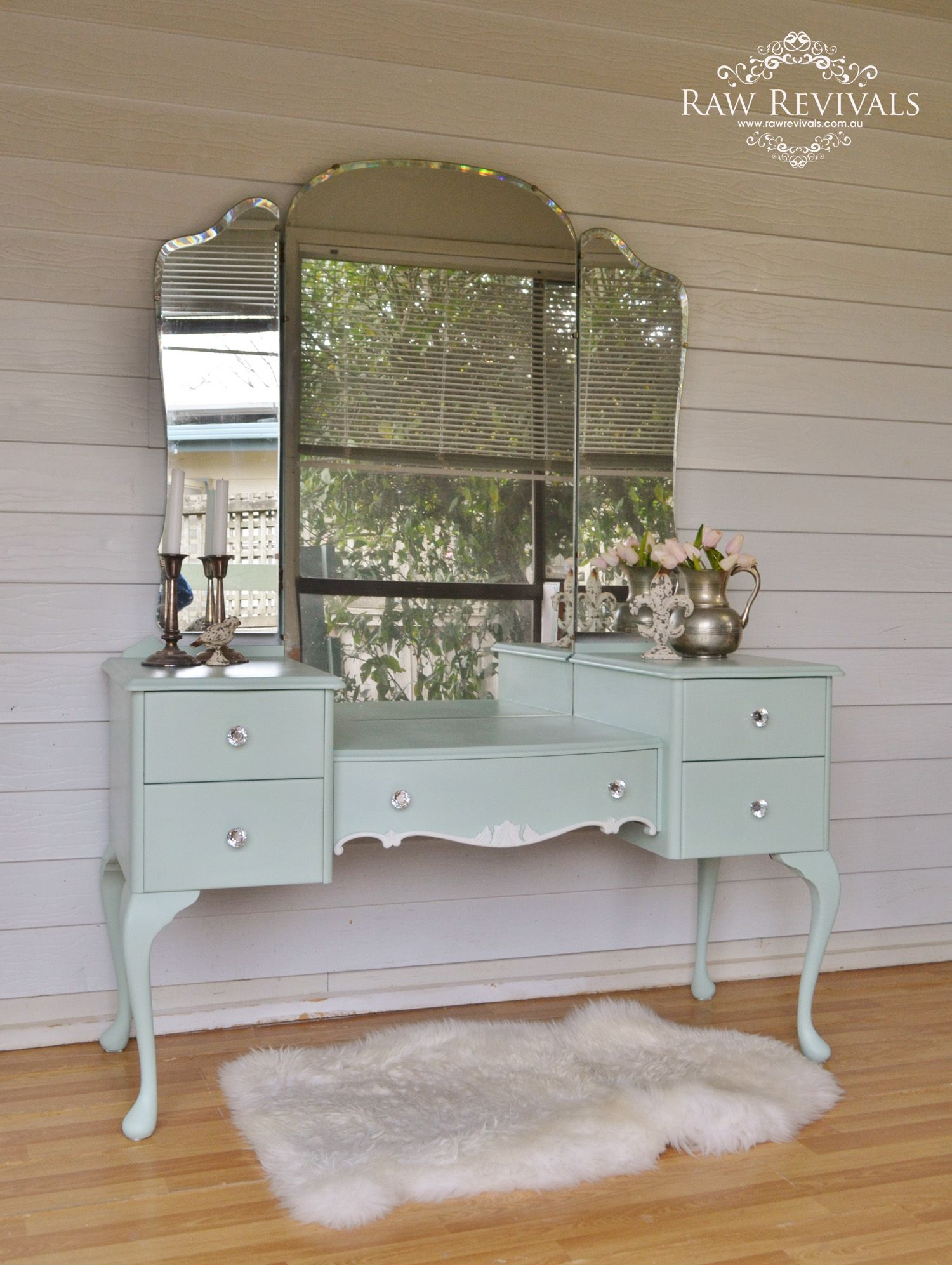 French Provincial Pastel Mint Queen Anne Dressing Table With White Accents And Butterfly Mirror Raw Revivals Bedroom Vintage Furniture Home