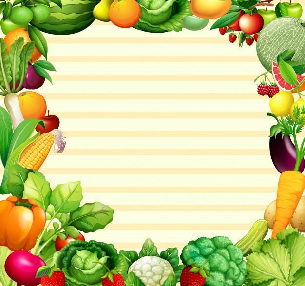 Marco De Diseno Con Verduras Y Frutas Ilustracion Descargar Vectores Premium Verduras Frutas Y Verduras Fotos Frutas Y Verduras