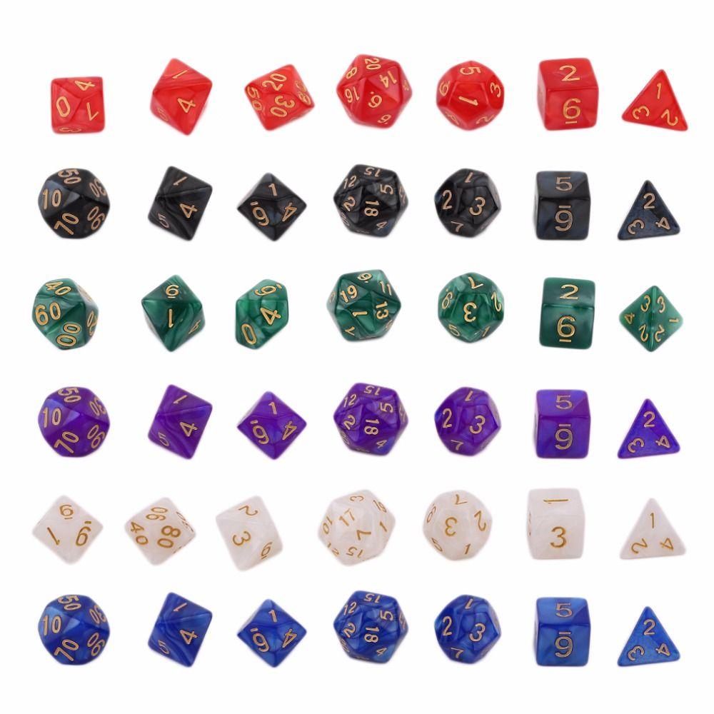 7pc WIZ MARBLE polyhedral dice set D/&D D20 D12 D10 D8 D6 D4 RPG Plastic lot
