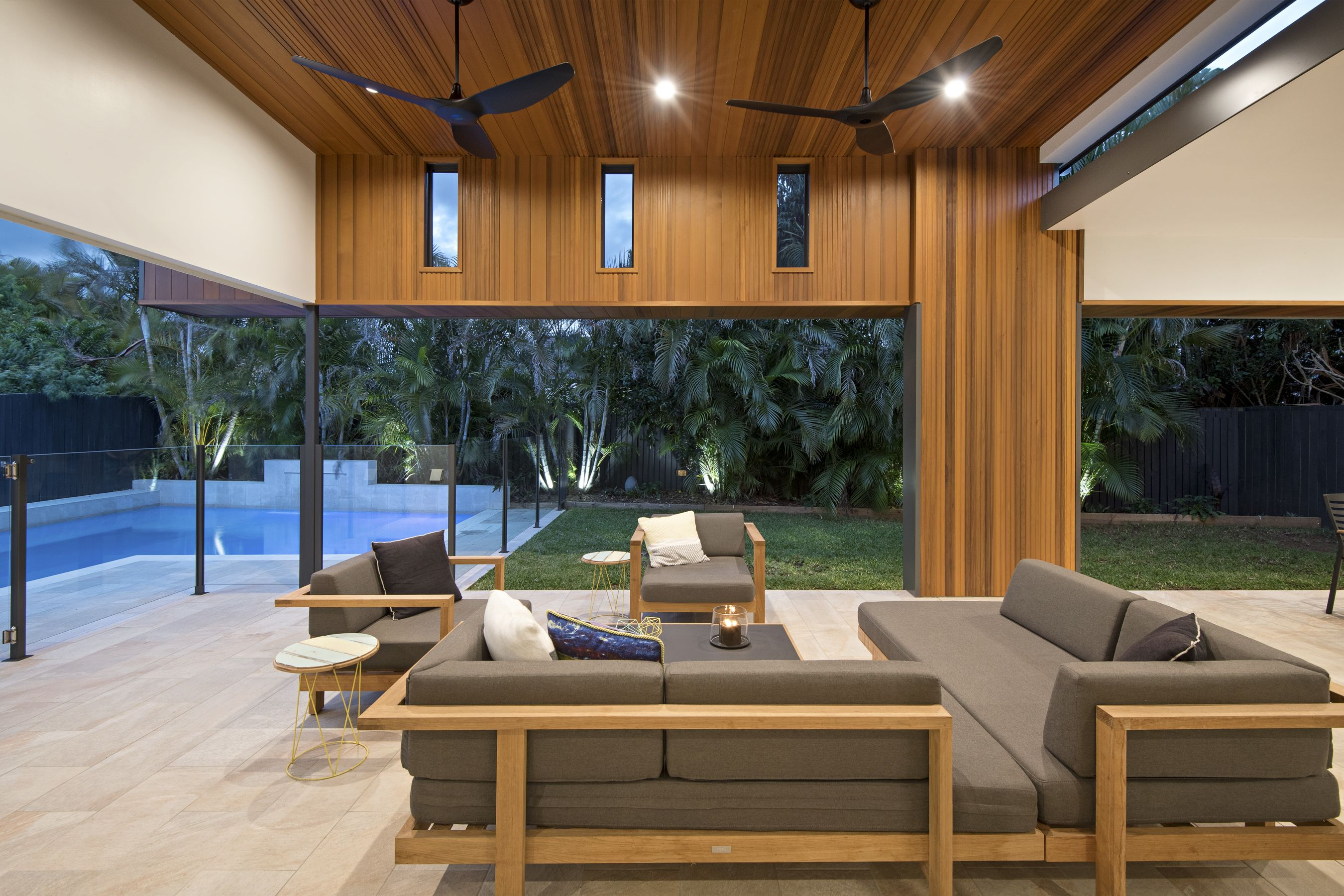 Outdoor Living Modern Outdoor Seating North Lakes Timber Feature Ceiling North Modern Outdoor Seating Outdoor Entertaining Area Pool Entertainment Area