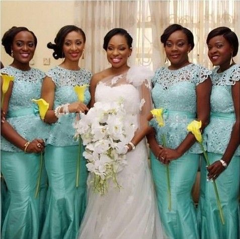 Mint Green African Bridesmaid Dresses O Neck Short Sleeve Mermaid Floor Length Lace With Ribbons On