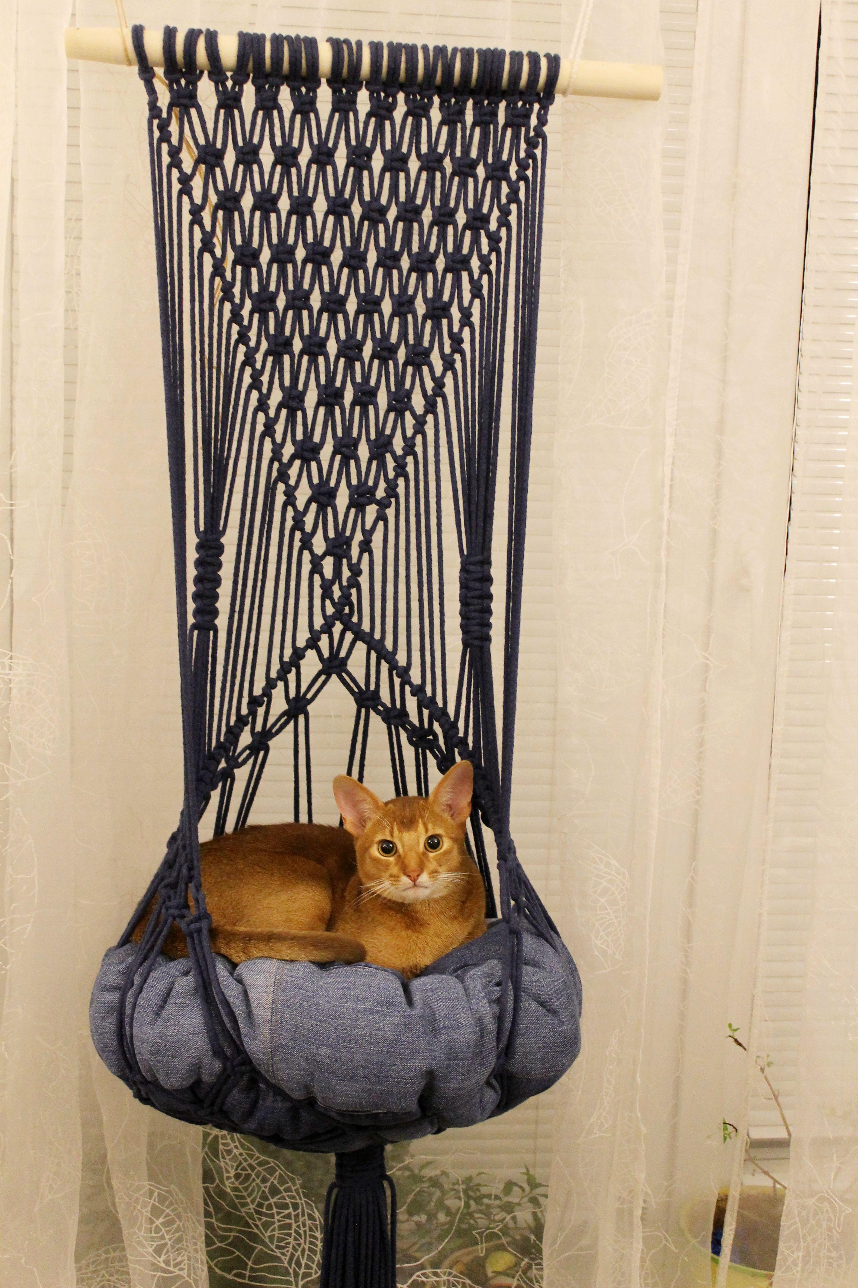 Boho Macrame Cat Hammock, Gift for Pet Lovers, Pet Gifts