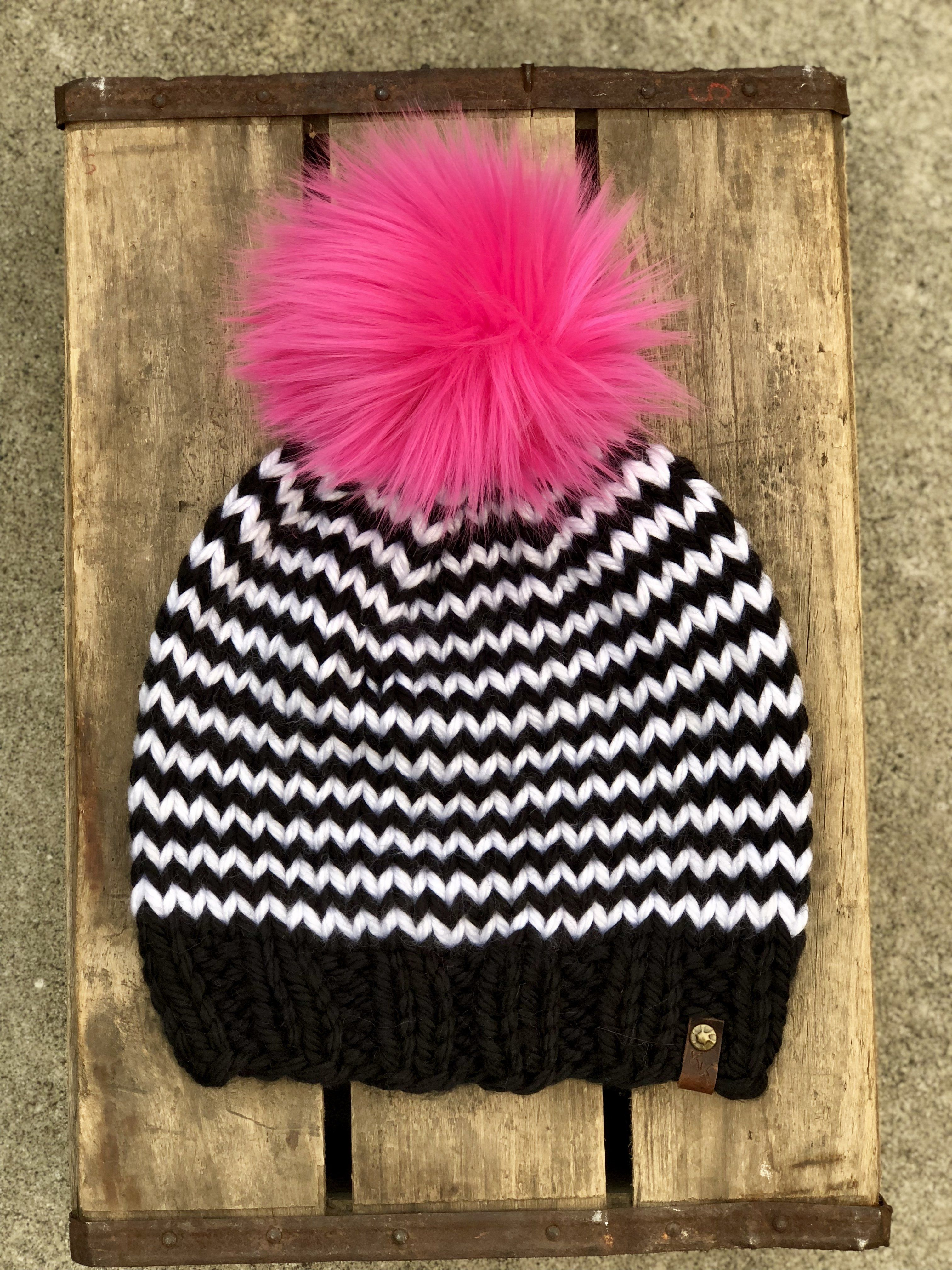 0405edfa Black White Striped Hand Knit Beanie Hot Pink Faux Fur Pom Pom Hat ...