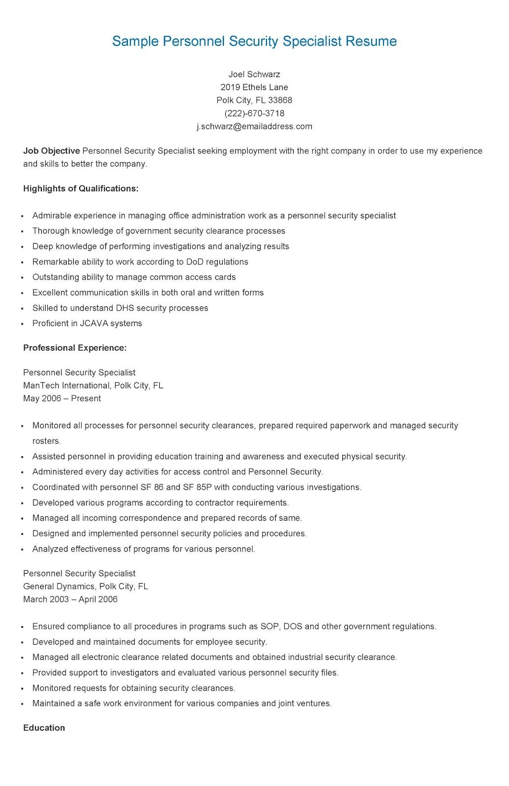 Sample Personnel Security Specialist Resume | resame | Pinterest