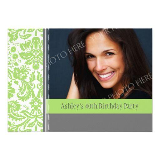 Lime Grey Photo 40th Birthday Party Invitation