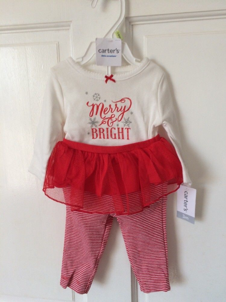 carter s baby girl 3 months tutu pants first christmas merry bright set new fashion