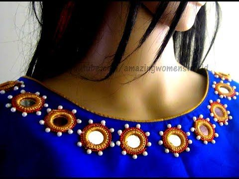 493ca3be3f Mirror Work Neckline for Kameez / Kurti / Blouse | DIY - YouTube ...