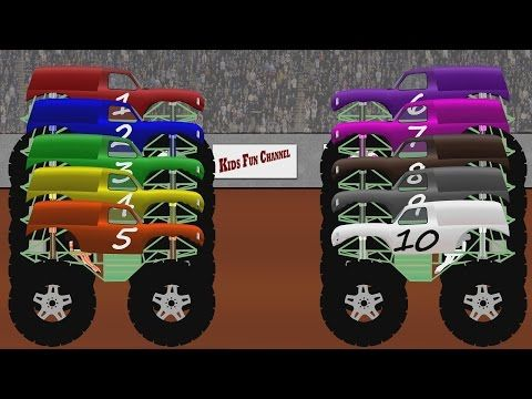 Monster Trucks Teaching Children To Count Twice Teaching Kids Truck Videos For Kids Monster Trucks