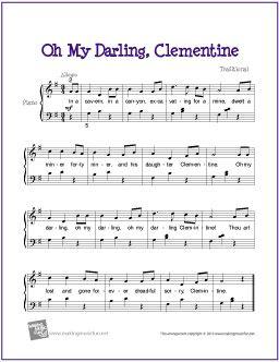 Oh My Darling Clemetine Piano Sheet Music Easy Piano Sheet