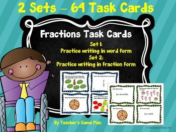 Introduction to Fractions - 2 Sets of Task CardsTwo sets of task cards to use as you introduce the concept of fractions. 64 task cards total, both sets include a recording sheet and answer key. Set 1:  Students read fractions, look at pictures of fractions as whole or fractions in a set and record in word form.