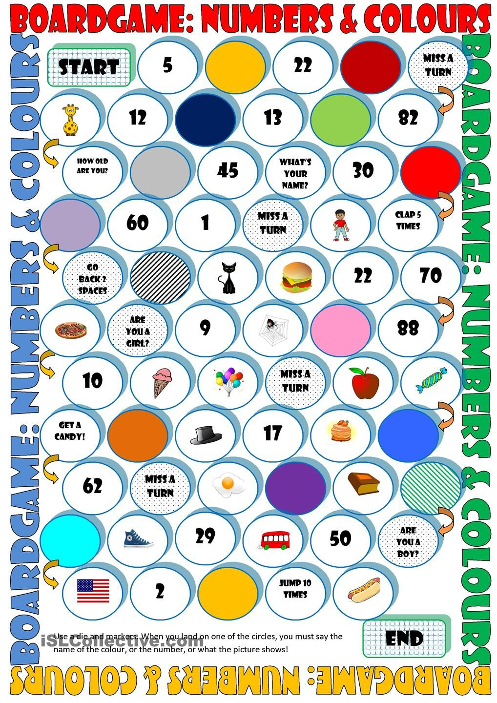 Game board colors - Board Game Numbers Colours