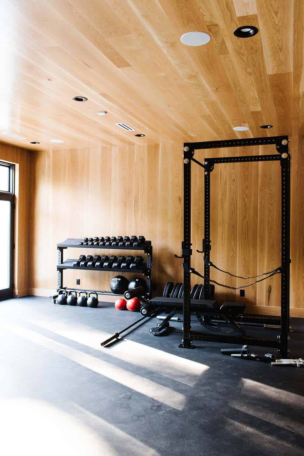 House Envy Modern Lake House In The Midwest With Stunning Details Gym Room At Home Modern Lake House Modern Home Gym