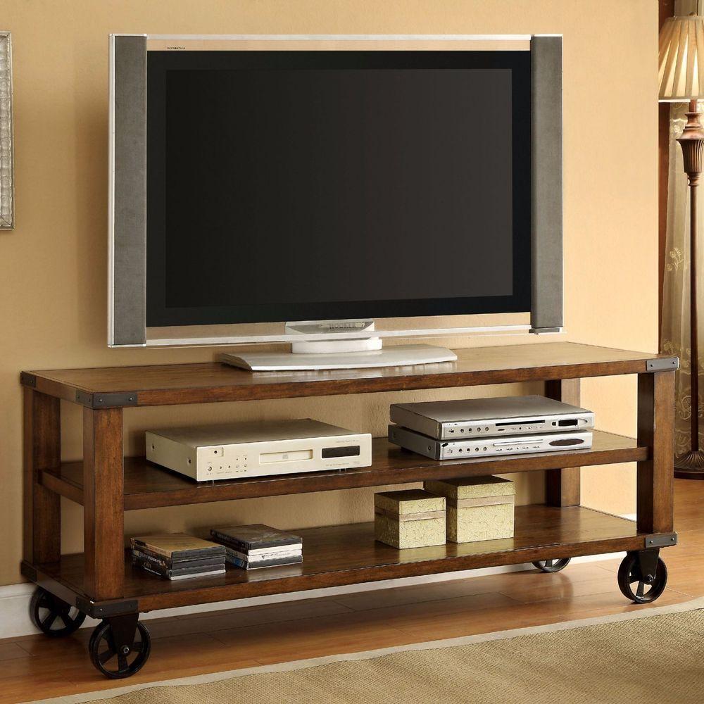 Industrial Rustic Wood 60 TV Stand Media Console Wheels Shelves Dark Oak