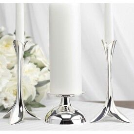 Silver Plated Candle Stands With Round Center Stand And Petal Shaped Taper