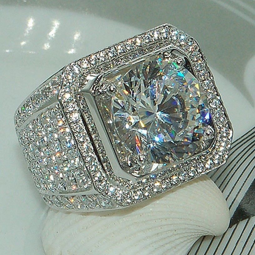 New!!! 14K White Gold Over Round Diamond Engagement Pinky