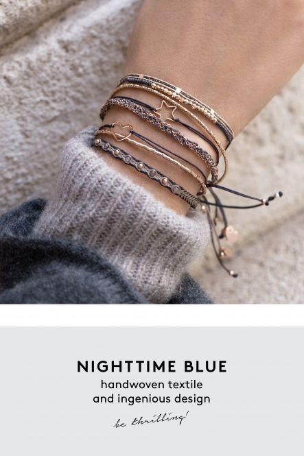 noche pulsera azul antracita rosa joyas tejidas a mano comprar en línea