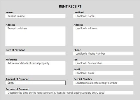 Free Receipt Forms - house rent bill format