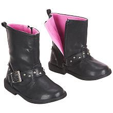 Amy Coe Girls Boots With Faux Buckles And Studded Straps Black Toddler Amy Coe Babies R Us Girls Boots Boots Biker Boot