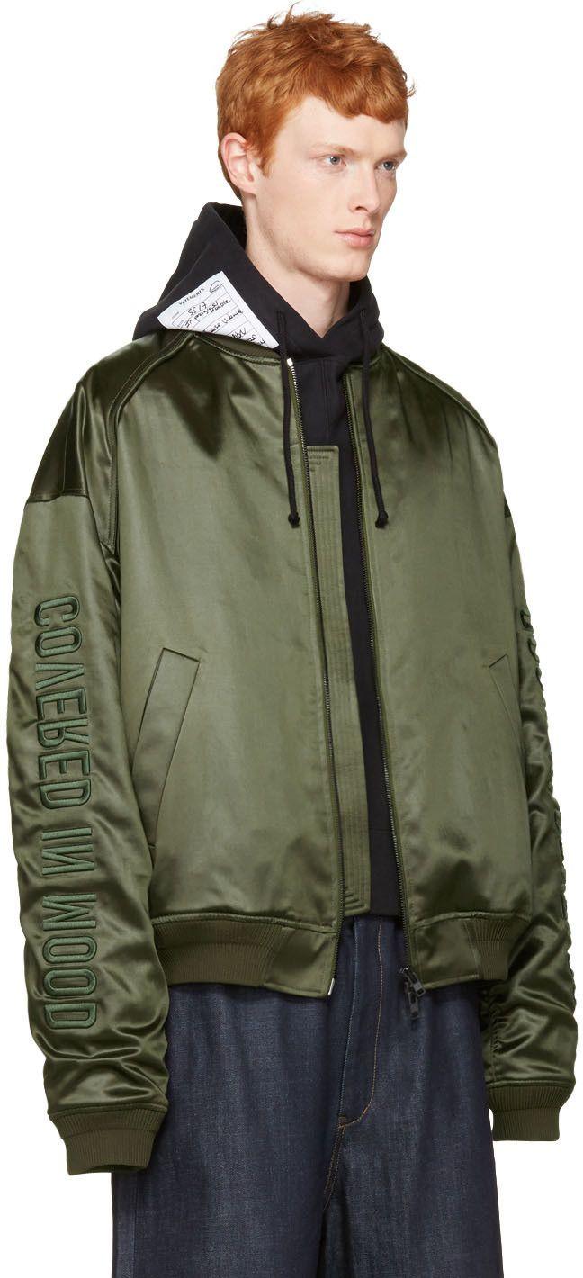 Juun J Green Oversized Bomber Jacket Jackets Mens Jackets Bomber Jacket [ 1420 x 648 Pixel ]