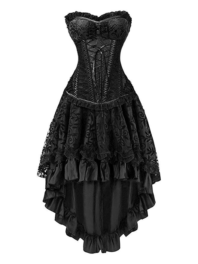 fcdaee89831 Killreal Women s Sexy Masquerade Steampunk Gothic Burlesque Costume Corset  with Hi Low Skirt Set Black Small  Black  Apparel