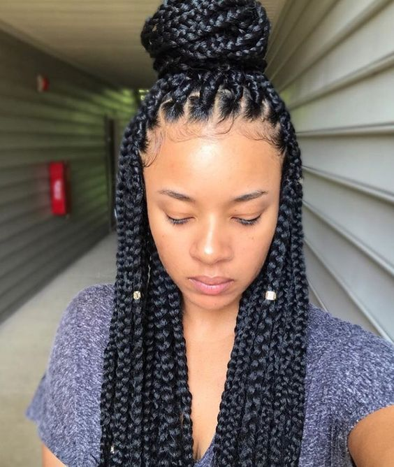 Braided Hairstyles To Try As Protective Styling For Natural Hair Protectivestyling Box Braids Styling Braided Hairstyles Hair Styles