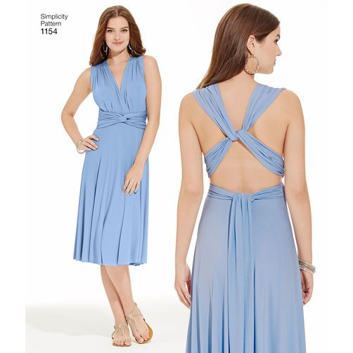 Simplicity Pattern 1154 Misses' Knit Wrap and Tie Dress in Two Lengths: