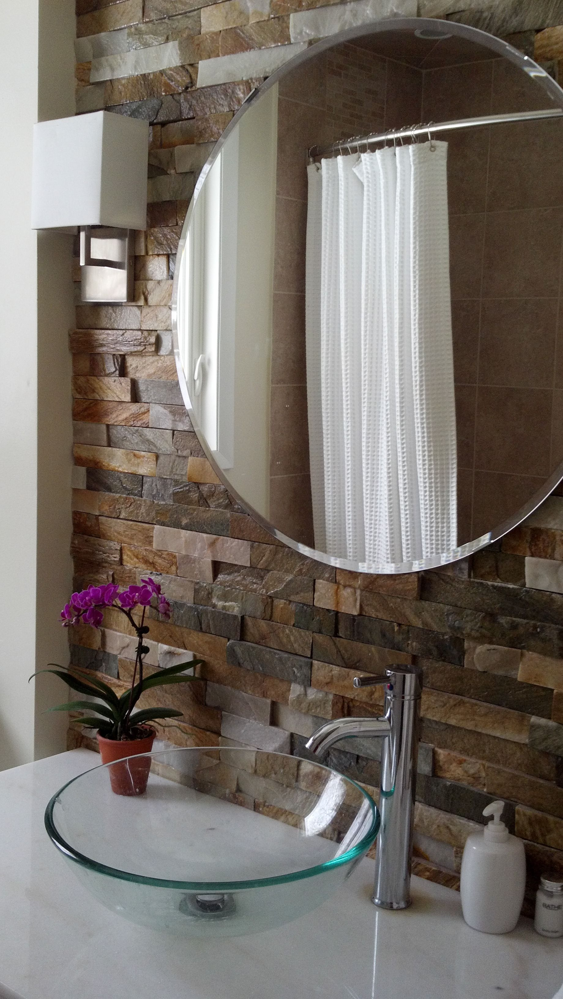 My Mom S Stacked Stone Bathroom Wall New Sink Vanity And Sconces