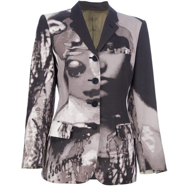 Jean Paul Gaultier Vintage Abstract Print Blazer (1 040 AUD) ❤ liked on Polyvore featuring outerwear, jackets, blazers, coats & jackets, black, black jacket, long sleeve blazer, black blazer, vintage black jacket and jean-paul gaultier