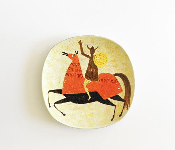 Mid century modern Italian Pottery Hand painted wall hanging Plate ...