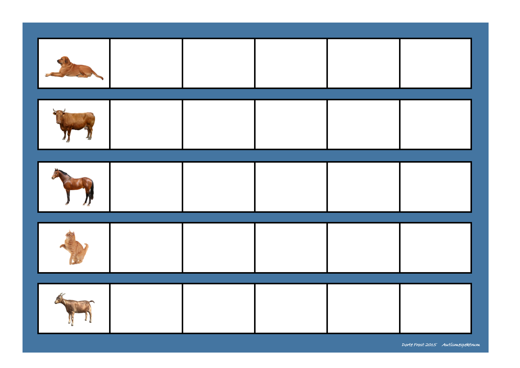 Board For The Farm Animal Sorting Game Find The Belonging Tiles On Autismespektrum