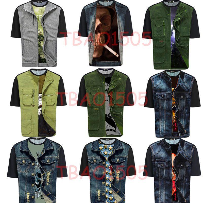 9 style fashion men personality tshirt 3d printing short