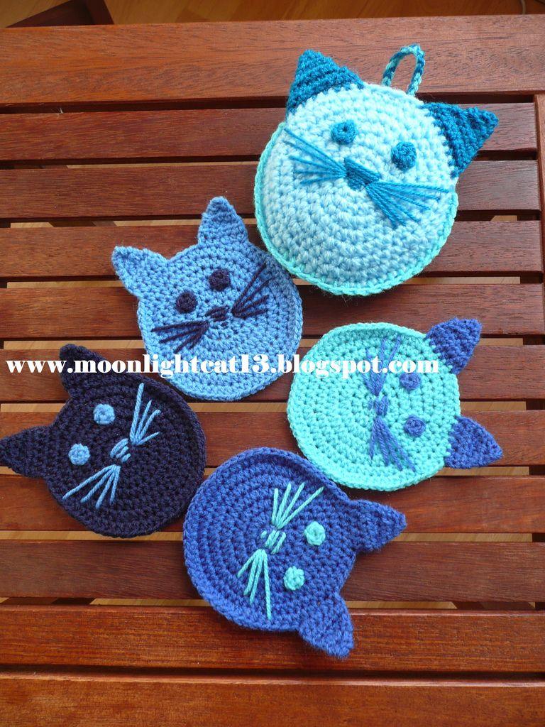 moonlightcat13: Örgü bardak altlıkları   čtverce a kolečka ...
