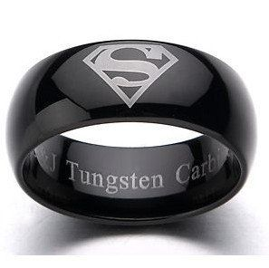 9mm black tungsten superman men wedding rings sz 7 15 tr35 in rings from jewelry - Mens Wedding Rings Unique