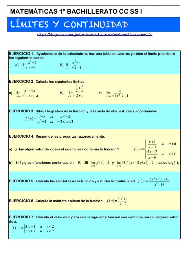 Límites Y Continuidad Ejercicios Resueltos Pdf ツ Matemáticas Bachillerato Matematicas Avanzadas Matematicas