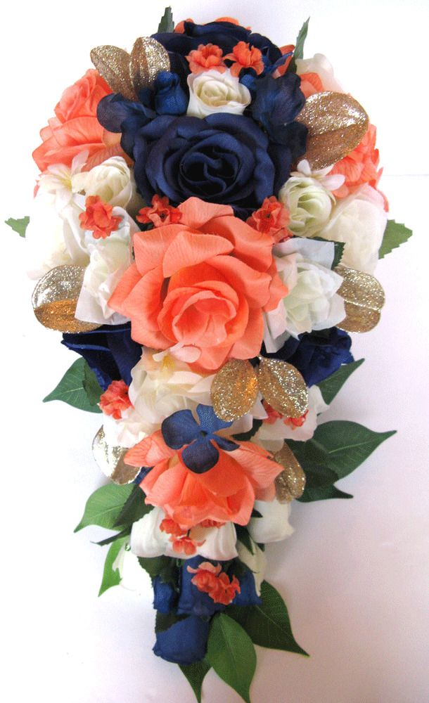 Wedding bouquet package bridal bouquet 17 piece silk flower coral wedding bouquet package bridal bouquet 17 piece silk flower coral navy blue gold coral navy silk flowers and bridal bouquets mightylinksfo