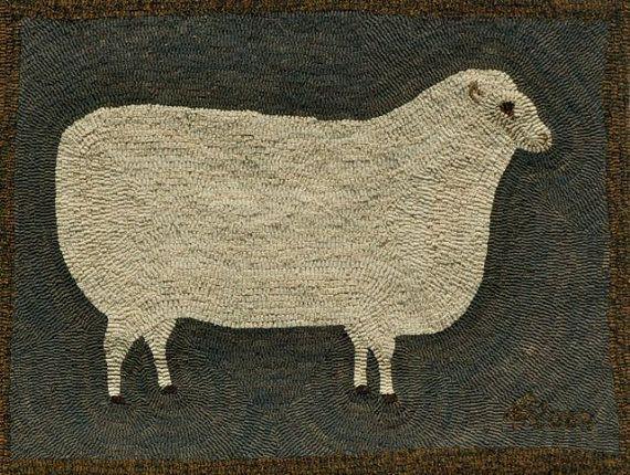 Primitive Ewe Hooked Rug Kit by harwoodhookedonewe on Etsy