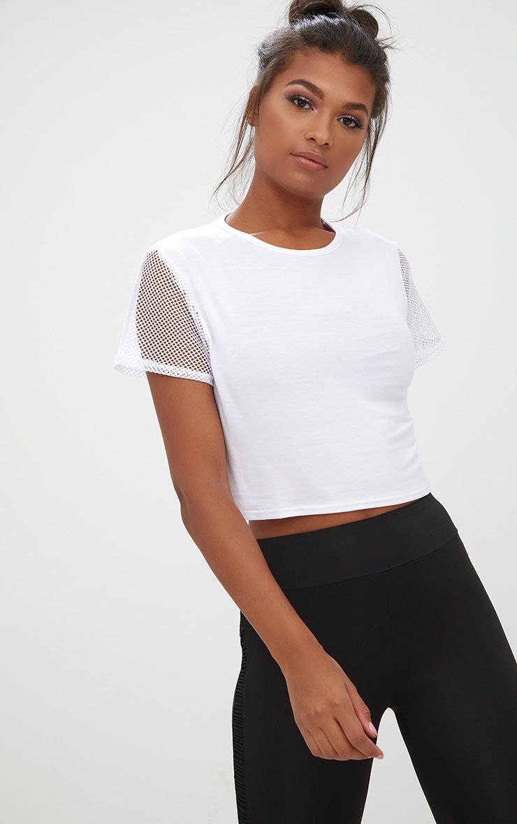 aa3121b7b507 White Fishnet & Jersey Crop Top in 2019 | Products | Fishnet, Tops ...