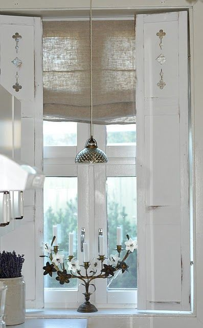 shabby white shutters - maybe in front of my french doors!