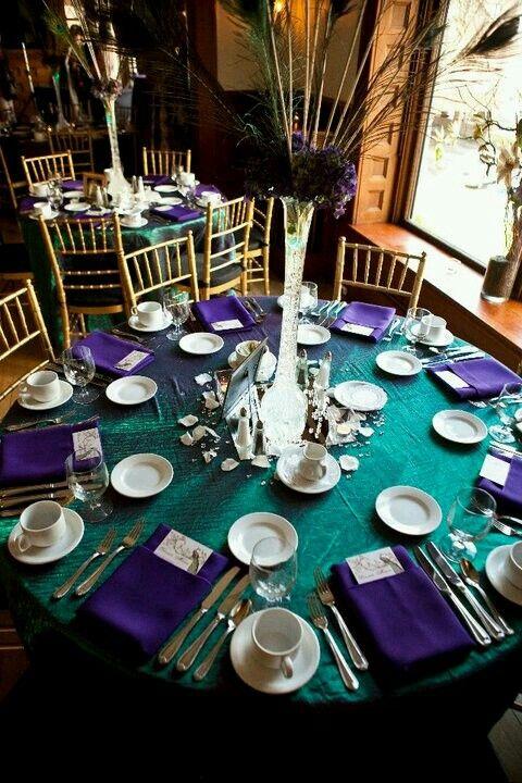 Table settings | Blue - Purple | Pinterest | Table settings, Wedding ...
