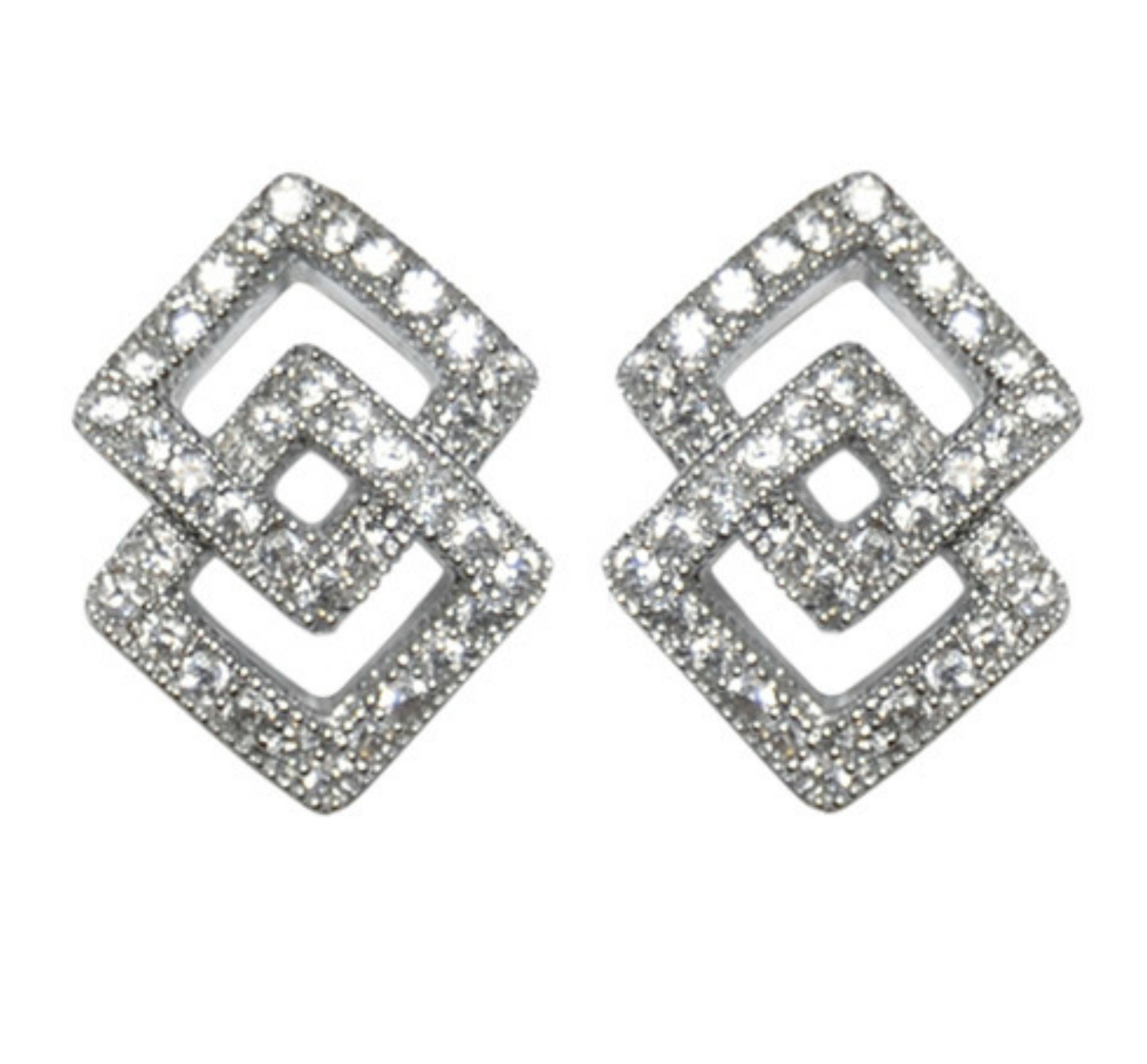 Hedy Double Square Stud Earrings Cubic Zirconia Silver