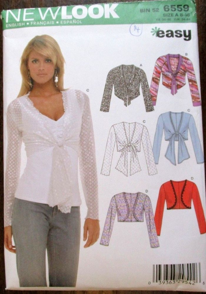 Newlook Sewing Pattern No 6559 Ladies Tops Size 8 14 Sewing