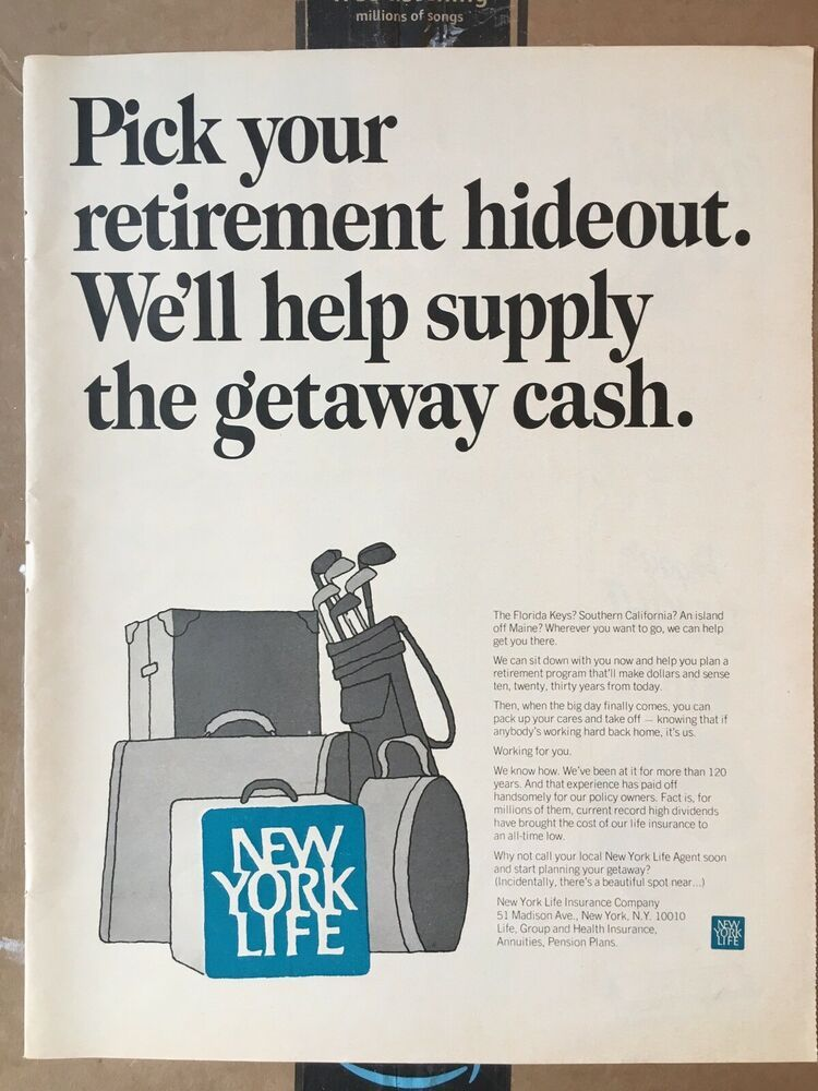 1967 10x13 New York Life Insurance Retirement Golf Hideout Vintage Magazine Ad Ebay New York Life Life