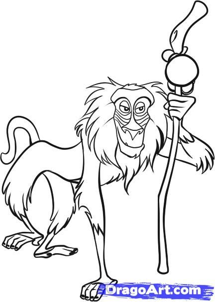 How To Draw Rafiki Step By Step Disney Characters Cartoons Draw Cartoon Characters Free Online Drawing Lion King Drawings King Drawing Disney Art Drawings Learn how to draw lion outline pictures using these outlines or print just for coloring. how to draw rafiki step by step