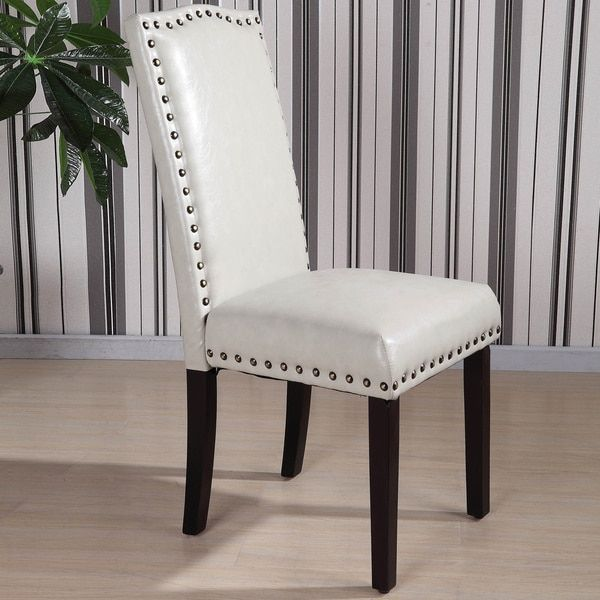 Wonderful Royal Comfort Collection Classic Faux Leather Nailhead Trim Parson Chair  (Set Of 2)
