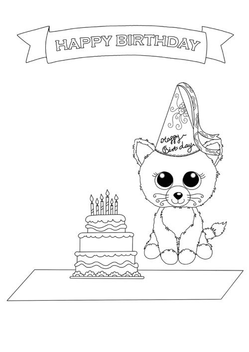 Beanie Boo Coloring Pages Birthday Cat Free Downloadable
