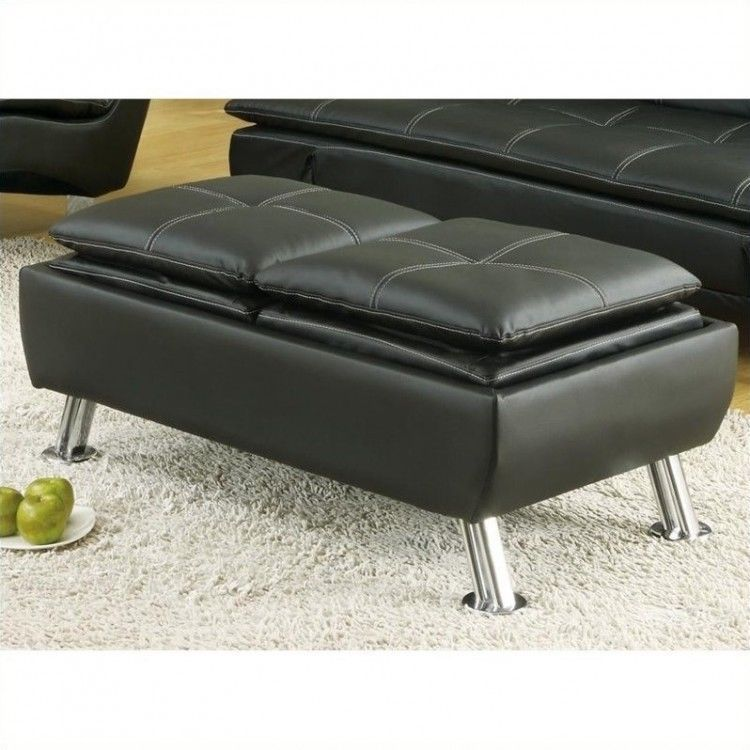 Ottoman Coffee Table Black Leather Flip Top Cocktail Furniture ...