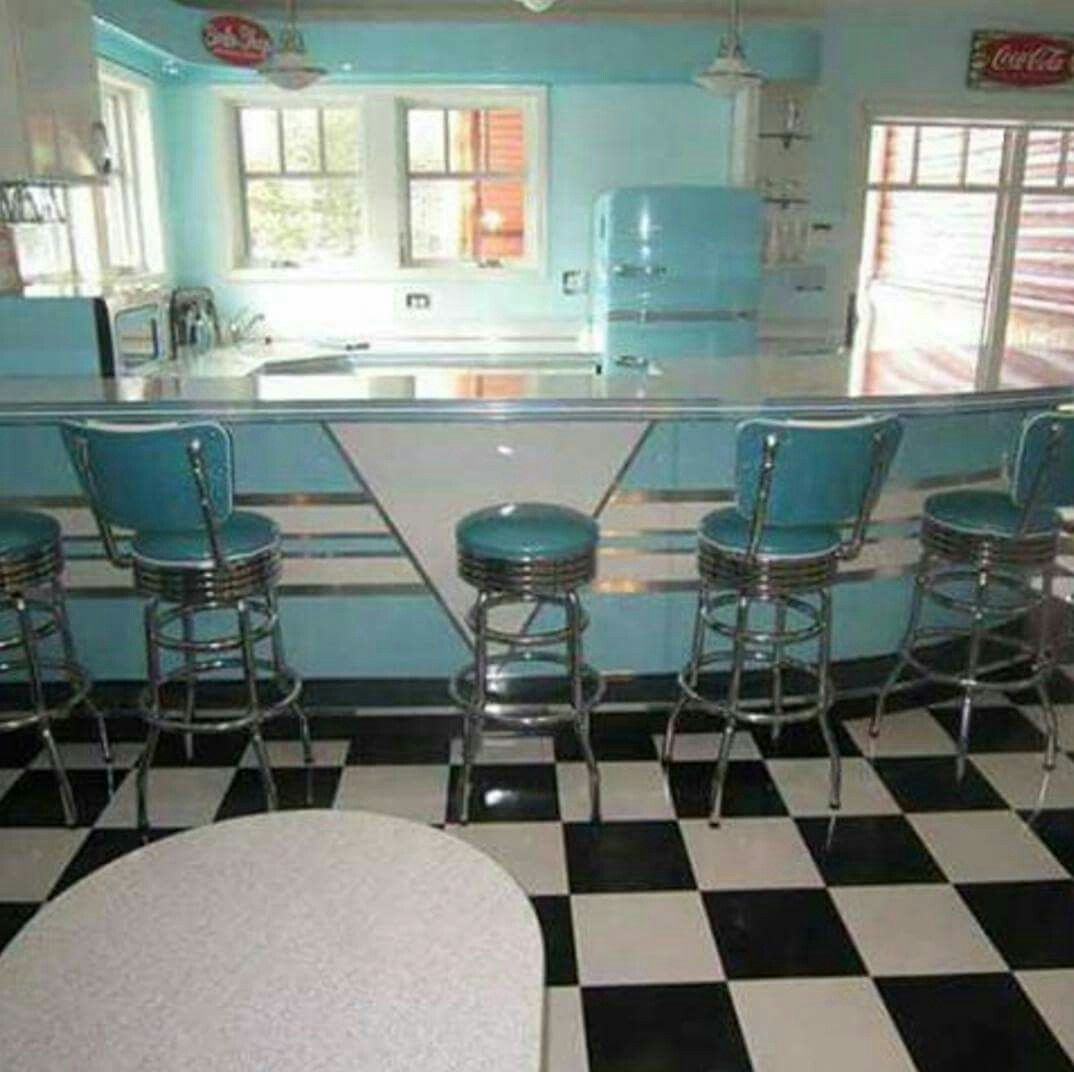 Omg I want this kitchen only in red and turquoise | 1950s Housewife ...