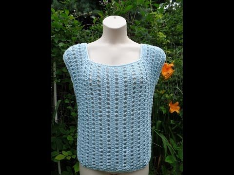 Crochet Easy Womens Ladies Top Blouse Shirt #TUTORIAL | Pinterest