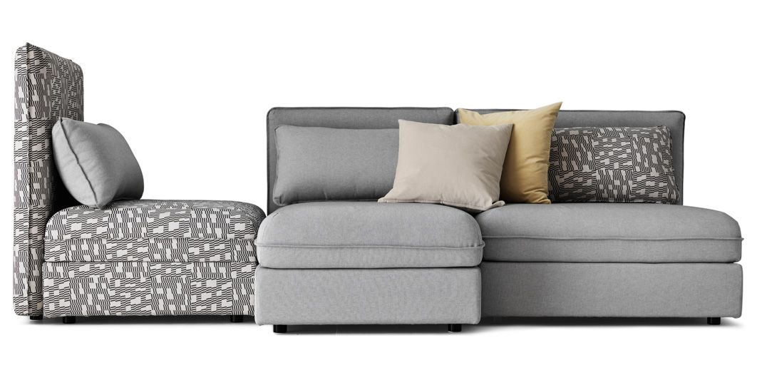 the vallentuna modular sofa can be pieced to her to create the